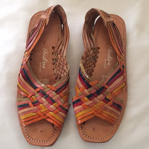 Authentic Mexican Leather Huarache Sandals Size 8